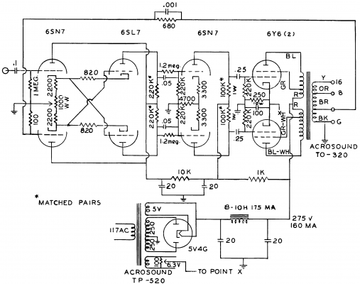 6Y6 amplifier using the TO-320 Acrosound 1955 transformer