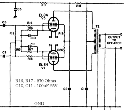 10-watt Mullard Amplifier schematic