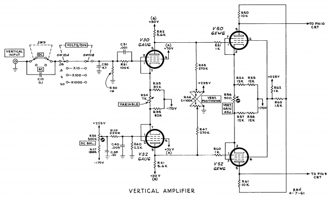 Vertical amplifier of Tektronix 360 oscilloscope